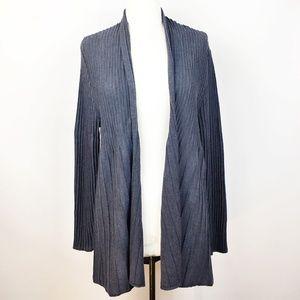 Eileen Fisher Long Wool Open Cardigan Navy L/XL